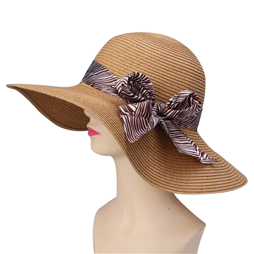 Straw Summer Hat With Ribbon Visor